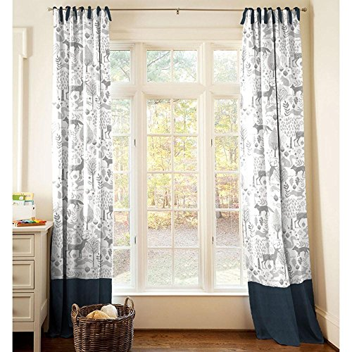 Carousel Designs Navy and Gray Woodland Drape Panel 96-Inch Length Standard Lining 42-Inch Width by Carousel Designs