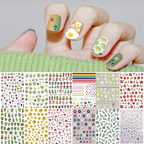 1000+ Patterns Nail Art Stickers Decals for Women Kids, Kalolary 3D Self-Adhesive Spring Stickers Flower Fruit Plant Stars Moon Smiling Face for Little Girls Manicure DIY Salon(12 Sheets)