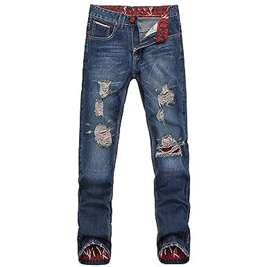 Toogoo R Maenner Gerader Schlank Passen Jeans Farbe Dunkelblau