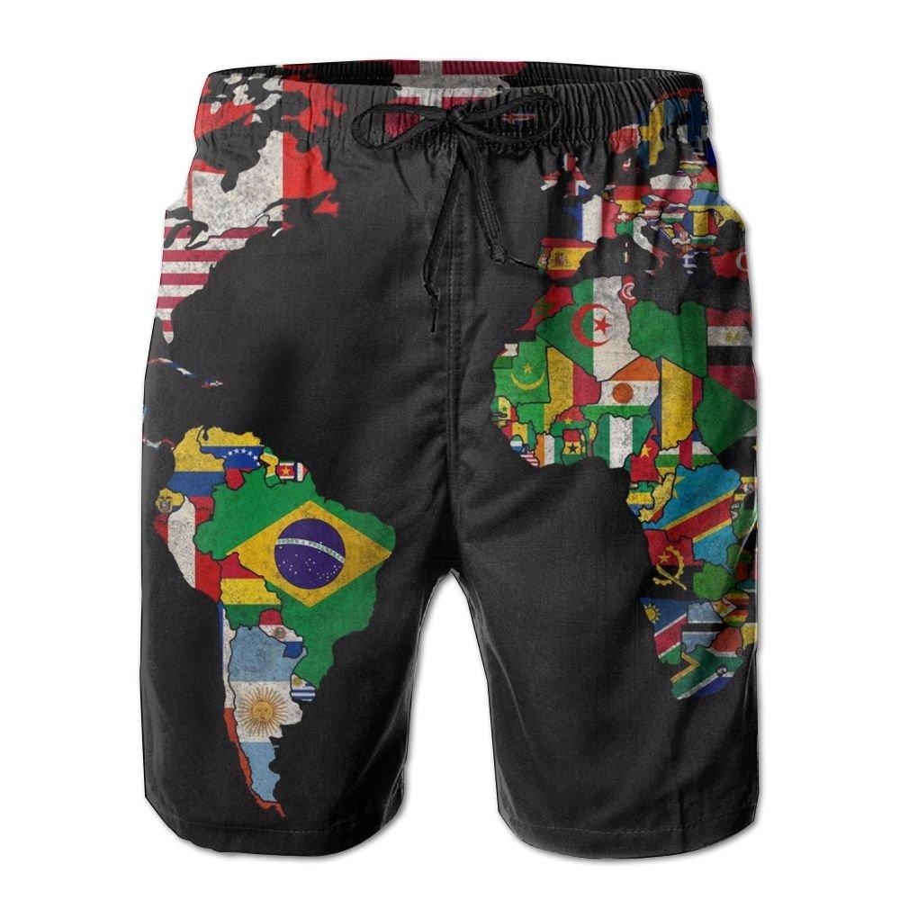 LXP FZD World Map Flag Mens Swim Trunks Funny Surf Board Shorts Beach Pant Sportswear
