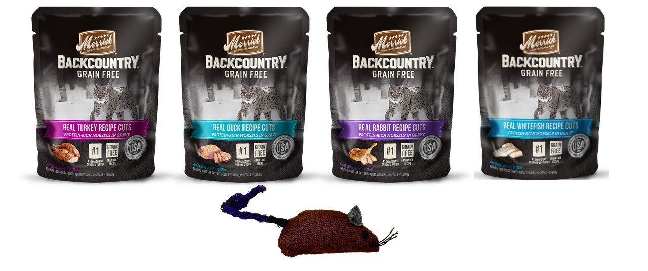 Merrick Backcountry Grain Free Protein-Rich Cat Food 4 Flavor Variety 8 Pouch with Toy Bundle: (2) Real Rabbit, (2) Real Whitefish, (2) Real Duck, and (2) Real Turkey, 3 Oz. Ea. (8 w/Toy)