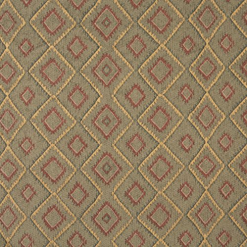 J751 Southwest Diamond Chenille Upholstery Fabric | Burgundy Gold and Green Chenille Upholstery Fabric by The Yard