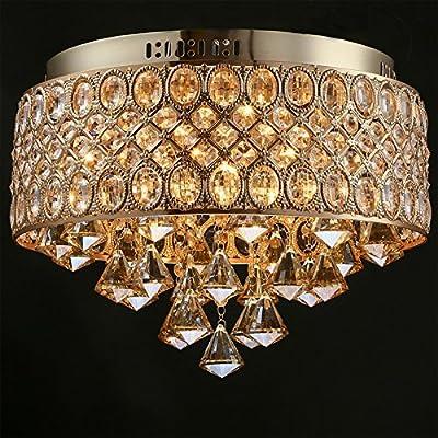Cheerhuzz New European Luxury Amber Crystal Flush Mount Light 4 Lights Modern Simple Ceiling Lamp Hotel Lobby Living Room Lighting CL240