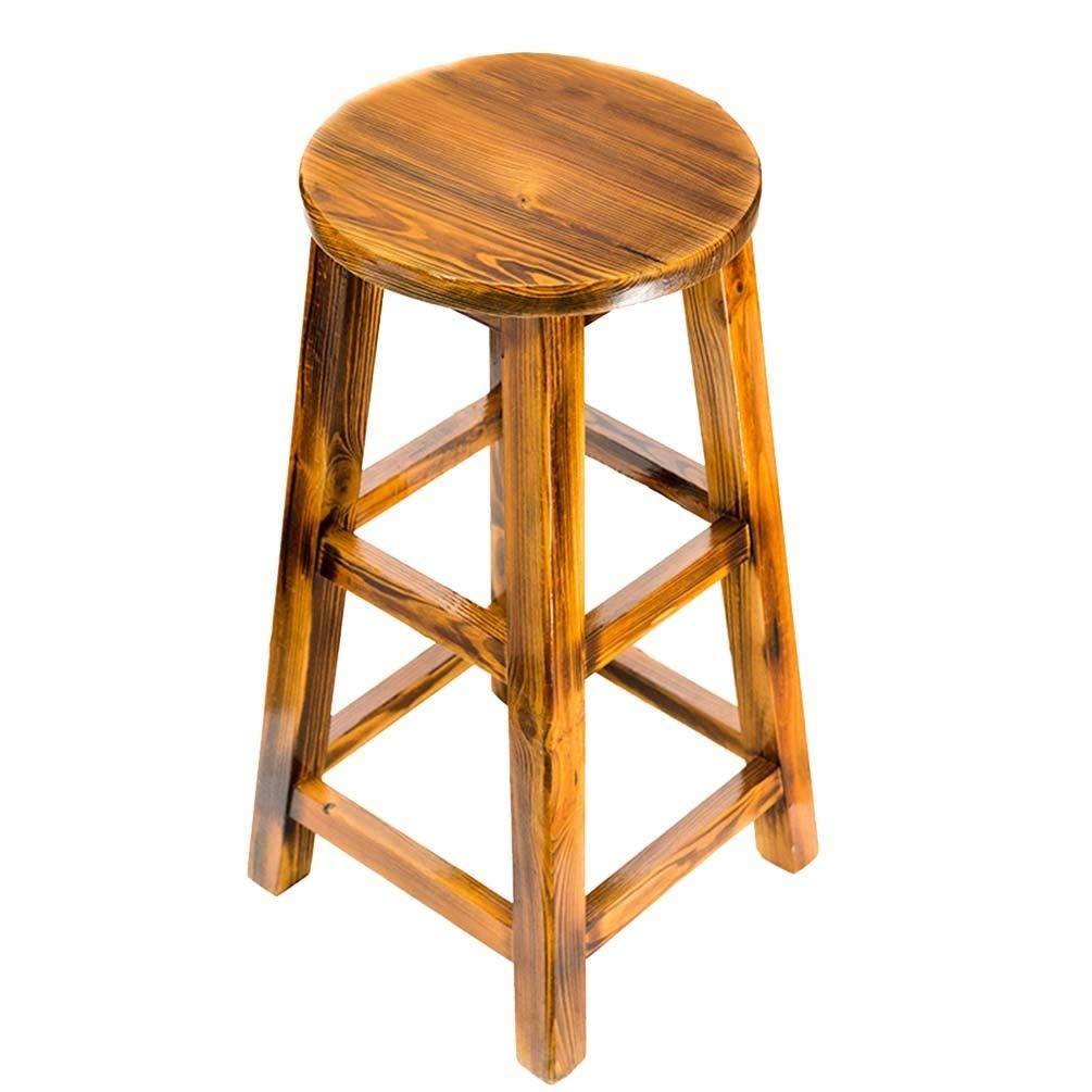 3670cm Retro Wooden Stools, Bar Stool Bar Counter High Stool Bar Chair Household Dining Stool 65-90cm Various Styles (Size   36  70cm)