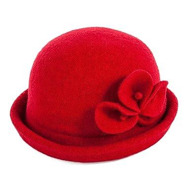 Siggi 1920s Wool Felt Bowler Cloche Bucket Bowler Hat Red for Women  Packable Winter d53c18829fc2