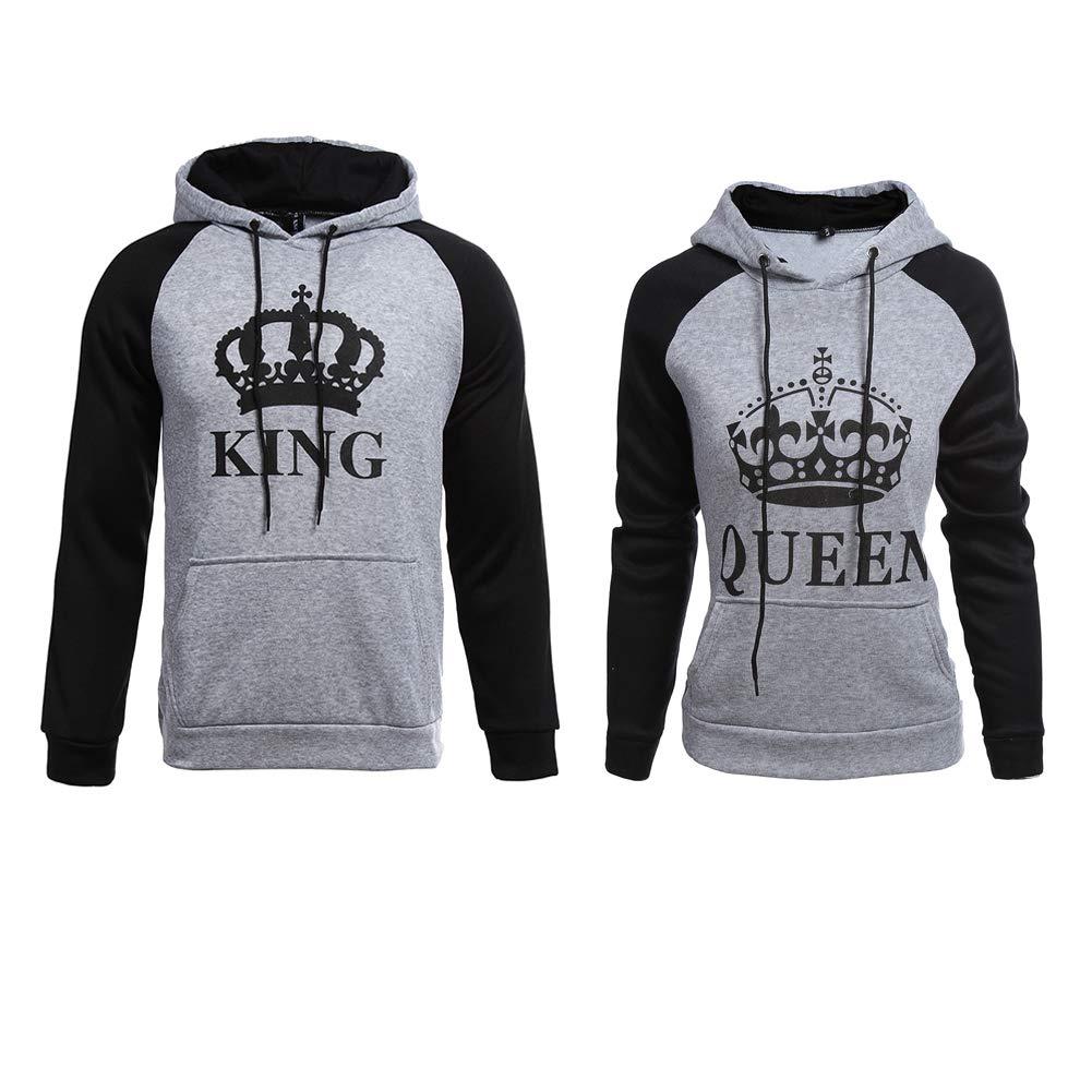 YJQ King Queen Matching Couple Crown Pullover Hoodie Sweatshirts Grey Men 2XL +Women XL by YJQ