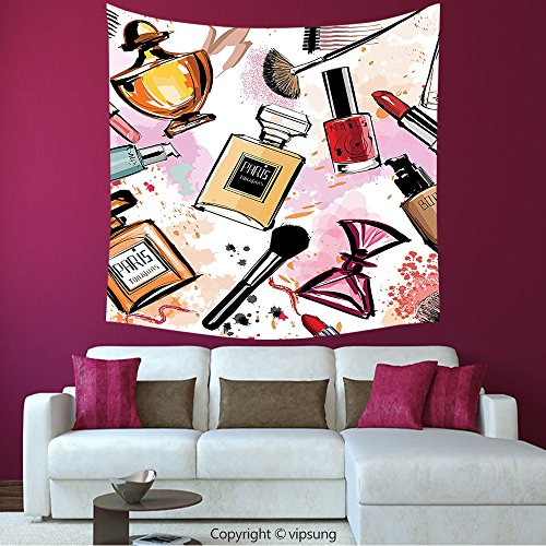 House Decor Square Tapestry-Girly Decor Collection Cosmetic And Make Up Theme Pattern With Perfume And Lipstick Nail Polish Brush Modern City Lady_Wall Hanging For Bedroom Living Room Dorm