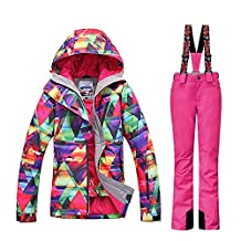GSOU SNOW New Women Winter Warm Windproof Waterproof Breathable Ski Suit Jacket(colorful cloths with 2XL Pink pants)