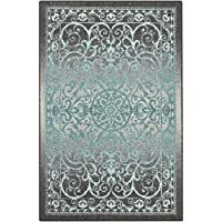 Area Rugs, Maples Rugs [Made in USA][Pelham] 7' x 10' Non Slip Padded Large Rug for Living Room, Bedroom, and Dining Room - Grey/Blue