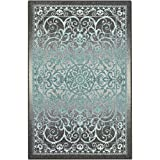Maples Rugs Area Rugs, [Made in USA][Pelham] 7' x 10' Non Slip Padded Large Rug for Living Room, Bedroom, and Dining Room - Grey/Blue