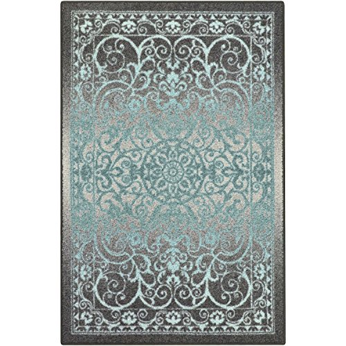 Area Rugs, Maples Rugs [Made in USA][Pelham] 7' x 10' Non Slip Padded Large Rug for Living Room, Bedroom, and Dining Room - Grey/Blue (Room In Carpet Grey Living)