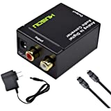 Musou RCA Analog to Digital Optical Toslink Coaxial Audio Converter Adapter with Optical Cable Power Adapter