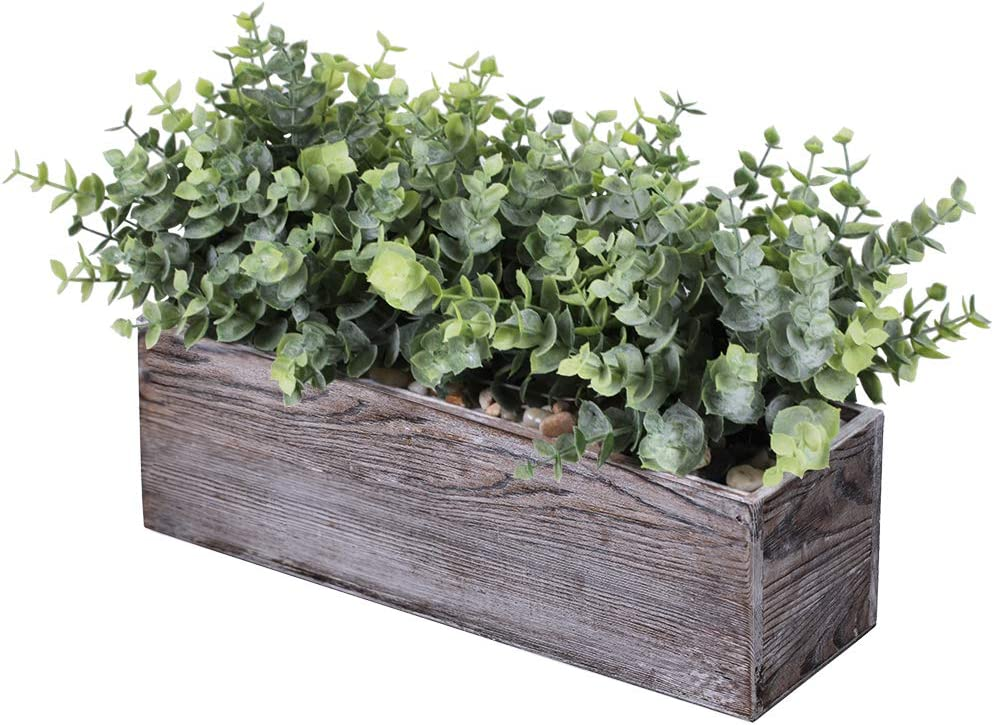 Faux Eucalyptus Plants in Rustic Rectangular Wood Planter Box Artificial Eucalyptus Greenery Arrangement Potted Plant in Dusty Green for Wedding Centerpiece Office Room Table Windowsill Décor