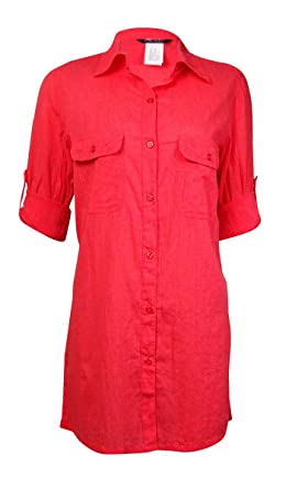 cf7ae34234dba LAUREN Ralph Lauren Women's Crushed Cotton Camp Shirt Cover-Up Bright Coral  Swimsuit Top