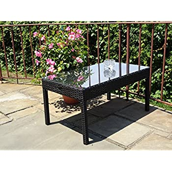 Patio Resin Outdoor Garden Yard Wicker Rectangular Coffee Table W/ Glass.  Black Color