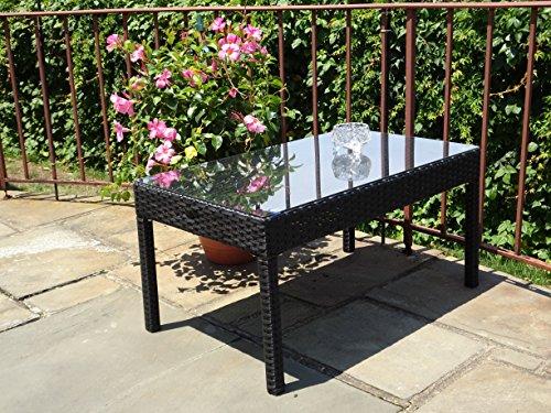 Rectangular Wicker Table (Patio Resin Outdoor Garden Yard Wicker Rectangular Coffee Table w/ Glass. Black Color)