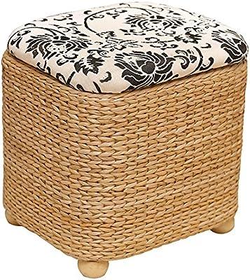 Amazon.com: RKY Storage Stool Rattan Weave, Basket Shoe ...
