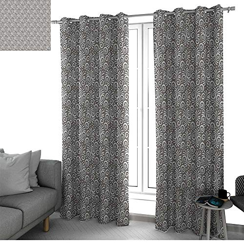 Floral Curtains for Sliding Glass Door Classical Victorian Style Flowers Background in Scroll Shaped Curved Lines Art Print Curtains Grey White W96 x L108 Inch