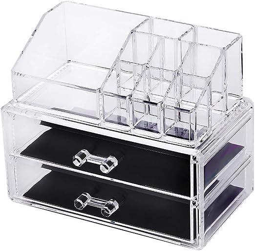 WARMWORD Cosméticos Organizador Escritorio Multifuncional Transparente Productos cosméticos Caja de almacenaje acrílica Estante de maquillajes Maquillaje Cosméticos Joyería Organizador: Amazon.es: Hogar