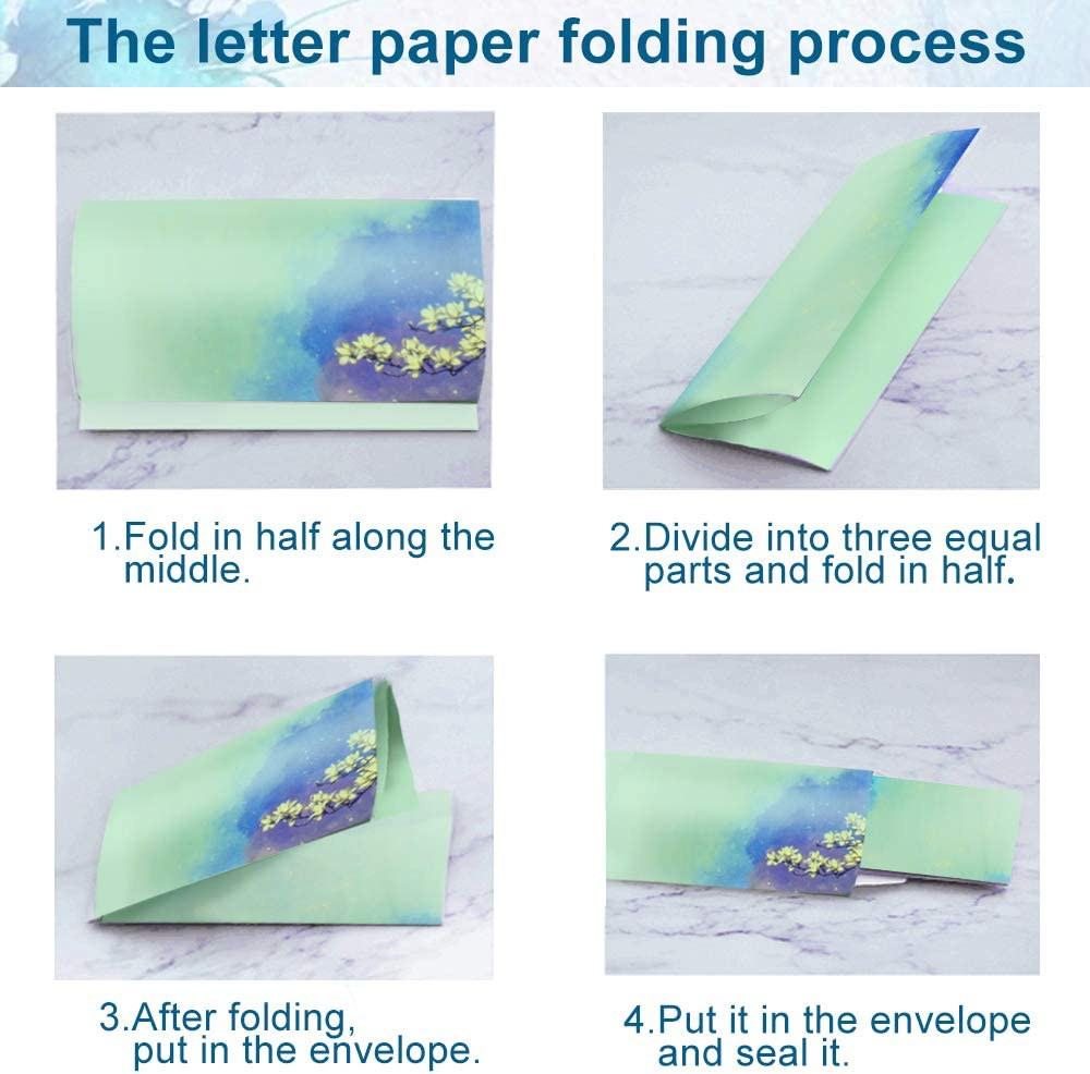 IGRMVIN Letter Writing Set Writing Paper Stationary Paper and Envelopes Set 32 Letter Paper with 16 Envelope Note Paper Letter Paper Set with Chinese Style Pattern for Kids and Adults