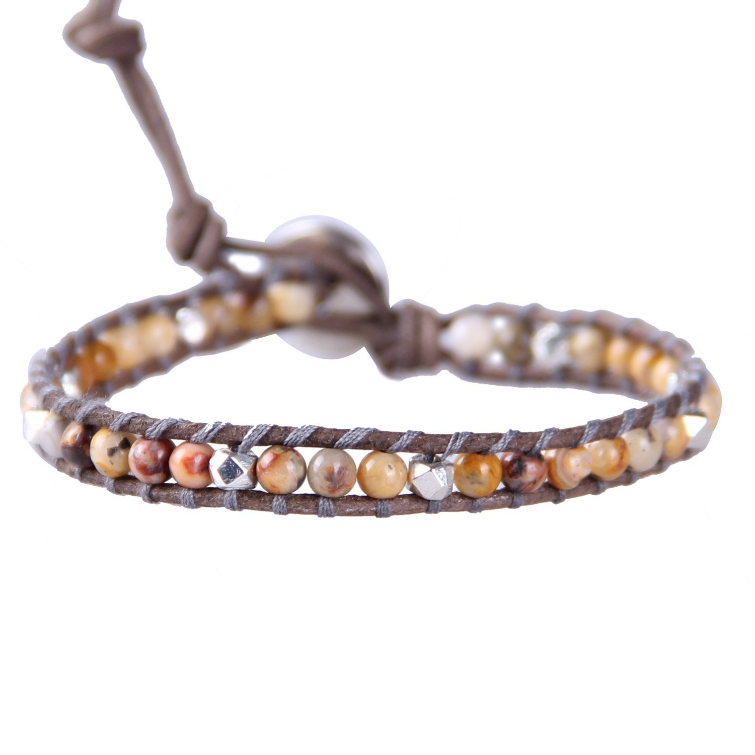 KELITCH Crazy Agate Sliver Beaded Single Wrap Bracelet on Brown Leather Handmade Cuff New Summer Jewelry