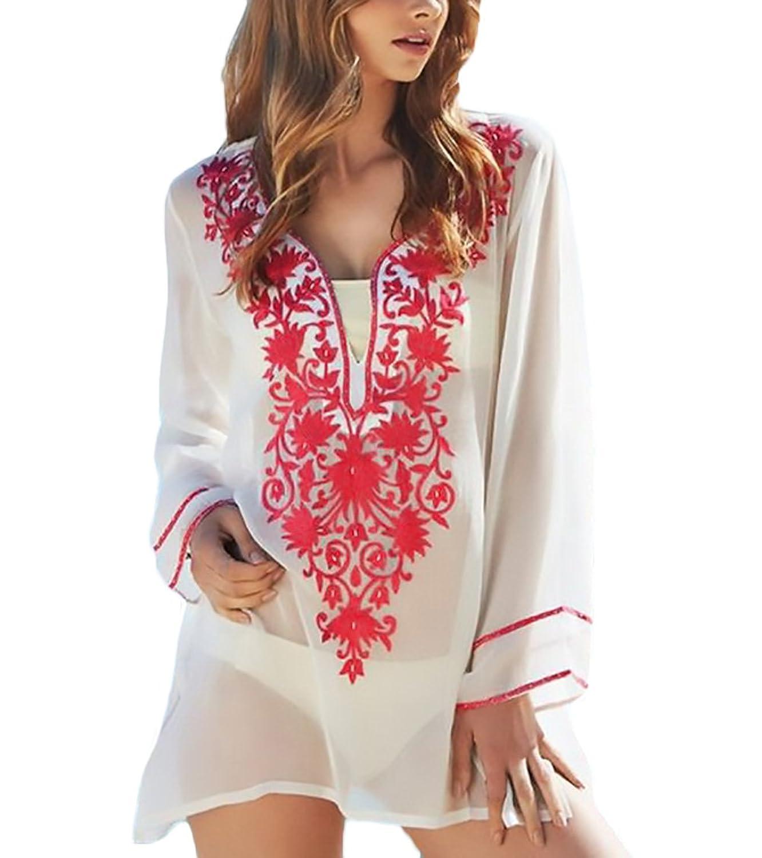 254553067b98 Lannister Fashion Pareos Playa Mujer Elegante Verano Manga Larga V ...