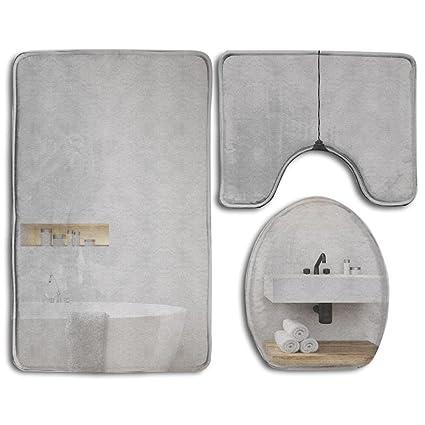 zhiqiandf baño con luz gris paredes para bañera, Fregadero y toalla estante concepto de color blanco ...