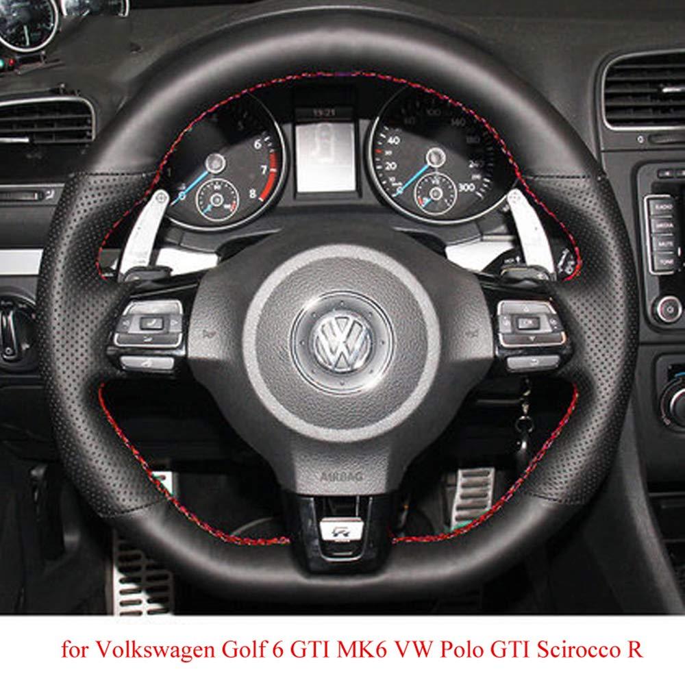 ZYTB Para la Cubierta del Volante del Coche Negro para Volkswagen ...