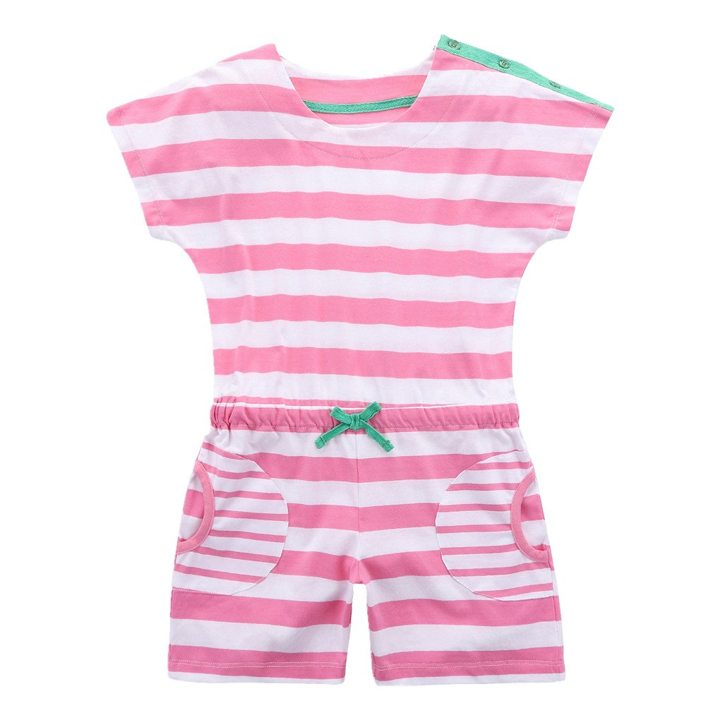 Motecity Girls' One-Piece Striped Buttons Jumpsuit Size 6 Pink