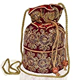 Purpledip Potli Bag (Clutch, Drawstring Purse) For Women With Intricate Gold Thread & Sequin Embroidery Work,Maroon (10535)