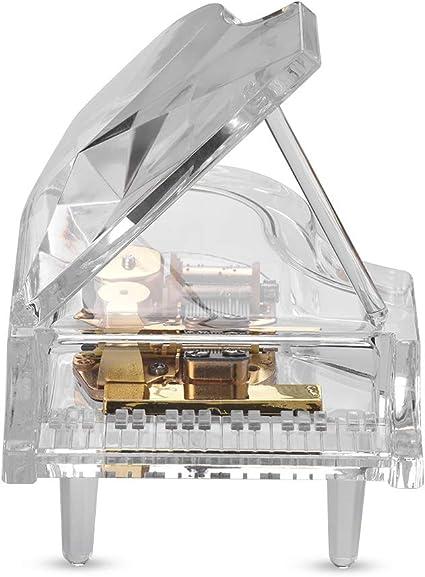 Fesjoy Caja de música para piano Mecánico de cuerda Caja de música con forma de piano con luces coloridas de RGB Acrílico transparente Melodía clásica Cumpleaños Navidad Año Nuevo Festival Regalo mus: