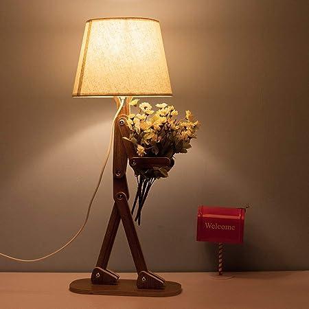 Hombre escritorio de madera con lámpara de mesa giratoria retro ...