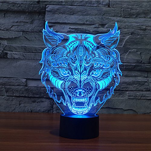 3D Lamp Optical Illusion Night Light, Gawell 7 Color Changing Touch Switch Table Desk Decoration Lamps Perfect Christmas Gift with Acrylic Flat & ABS Base & USB Cable Creative Toy (Wolf (Usb Desk Toy)