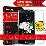 LG K7 / Tribute 5 /LG Treasure LTE Glass Screen Protector, [2 Pack] AnoKe(0.3mm 9H 2.5D) Best Tempered Glass Screen Protector FilmFor LG K7 / Tribute 5 Glass - 2Pack NEW