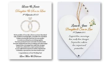 Personalised Daughter And Son In Law Wedding Poem Card Heart Plaque Gift Bride