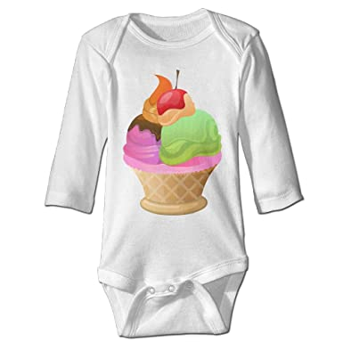 Ice Cream Waffle Basket Infant Toddlers Clothes Comfy Long Sleeves Summer Baby  Bodysuit Romper Newborn One 0ff7c753a
