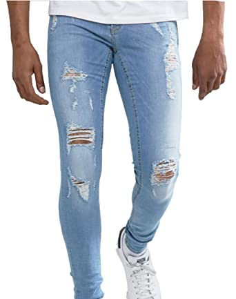 c5994def Men's Stretch Skinny Distressed Slim Fit Ripped Jeans Light Washed Blue 33