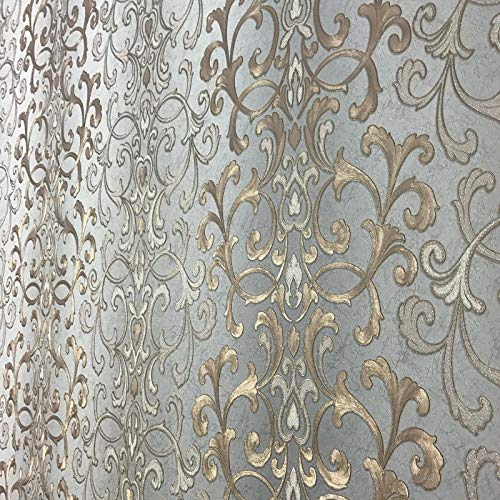 113.52 sq.ft rolls PASTE THE WALL ONLY Embossed modern Slavyanski wallcoverings victorian damask pattern Vinyl Non-Woven Wallpaper gray silver gold bronze metallic textured stripes wall coverings 3D (Wall Gold Covering)
