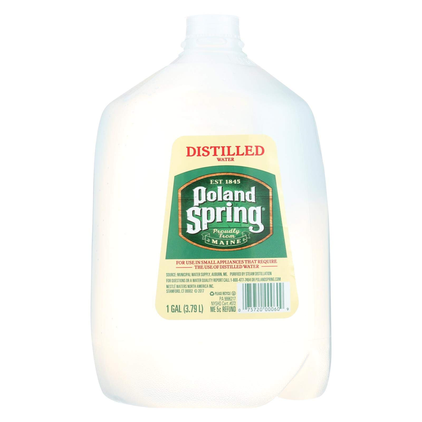 POLAND SPRINGS WATER DISTILLED, 6 1 Gallon Bottles by Poland Springs