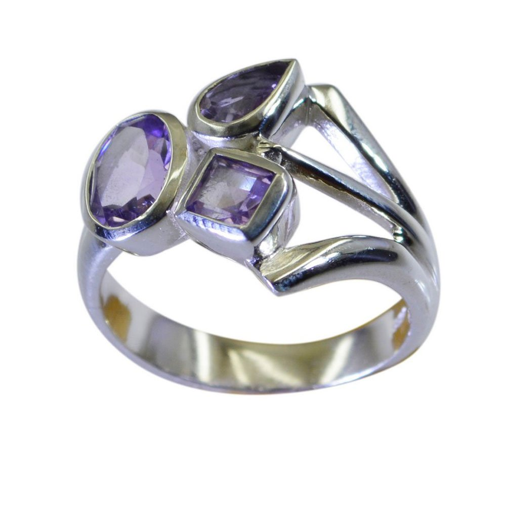 Gemsonclick Real Amethyst Ring Silver 925 Mixed Stone Three-Stone Style Handicraft Size 5,6,7,8,9,10,11