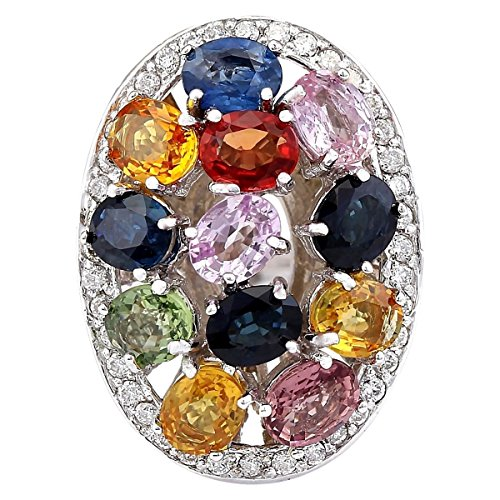 (5.34 Carat Natural Multicolor Ceylon Sapphire and Diamond (F-G Color, VS1-VS2 Clarity) 14K White Gold Cocktail Ring for Women Exclusively Handcrafted in USA)
