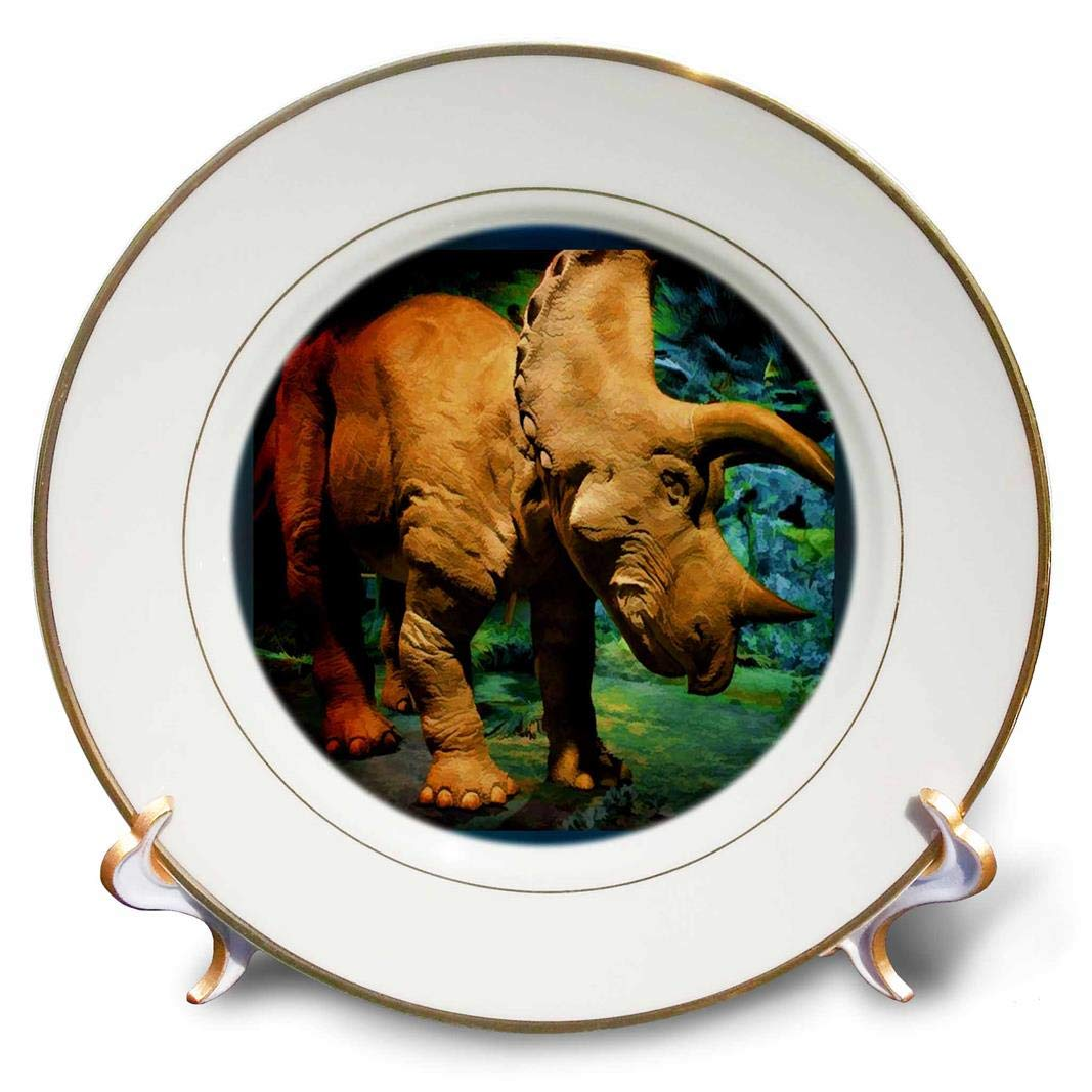 3dRose cp/_25875/_1 Triceratops-Porcelain Plate 8-Inch