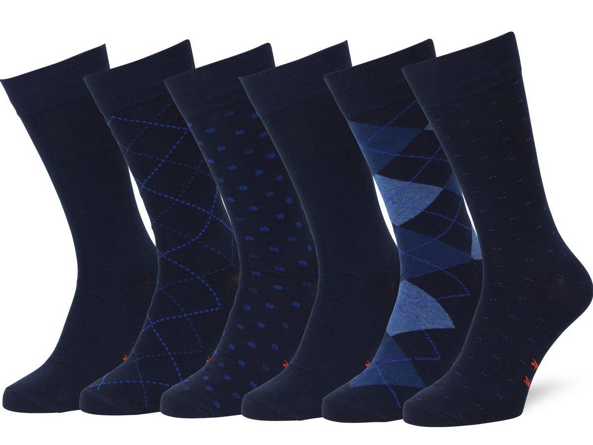 Easton Marlowe Men's Classic Subtle Pattern Dress Socks - 6pk #4-4, Dark Navy - 43-46 EU shoe size by Easton Marlowe