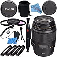 Canon EF 100mm f/2.8 Macro USM Lens 4657A006 + 58mm 3pc Filter Kit + 58mm Macro Close Up Kit + Lens Cleaning Kit + Lens Pouch + Lens Pen Cleaner + Fibercloth Bundle