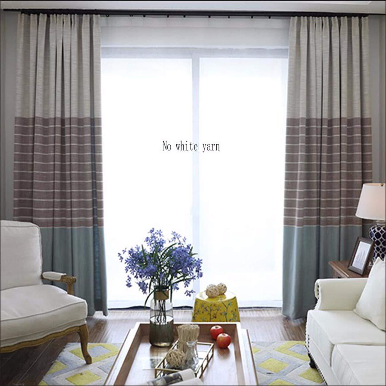 XPY-Curtain Gardine Vorhänge Gardinen Einfache Moderne Baumwolle und Leinen beendet hohen Verdunkelungsstil Wohnzimmer Schlafzimmer Balkon Nordic Isolierung Sonnenschutz Vorhang, 150