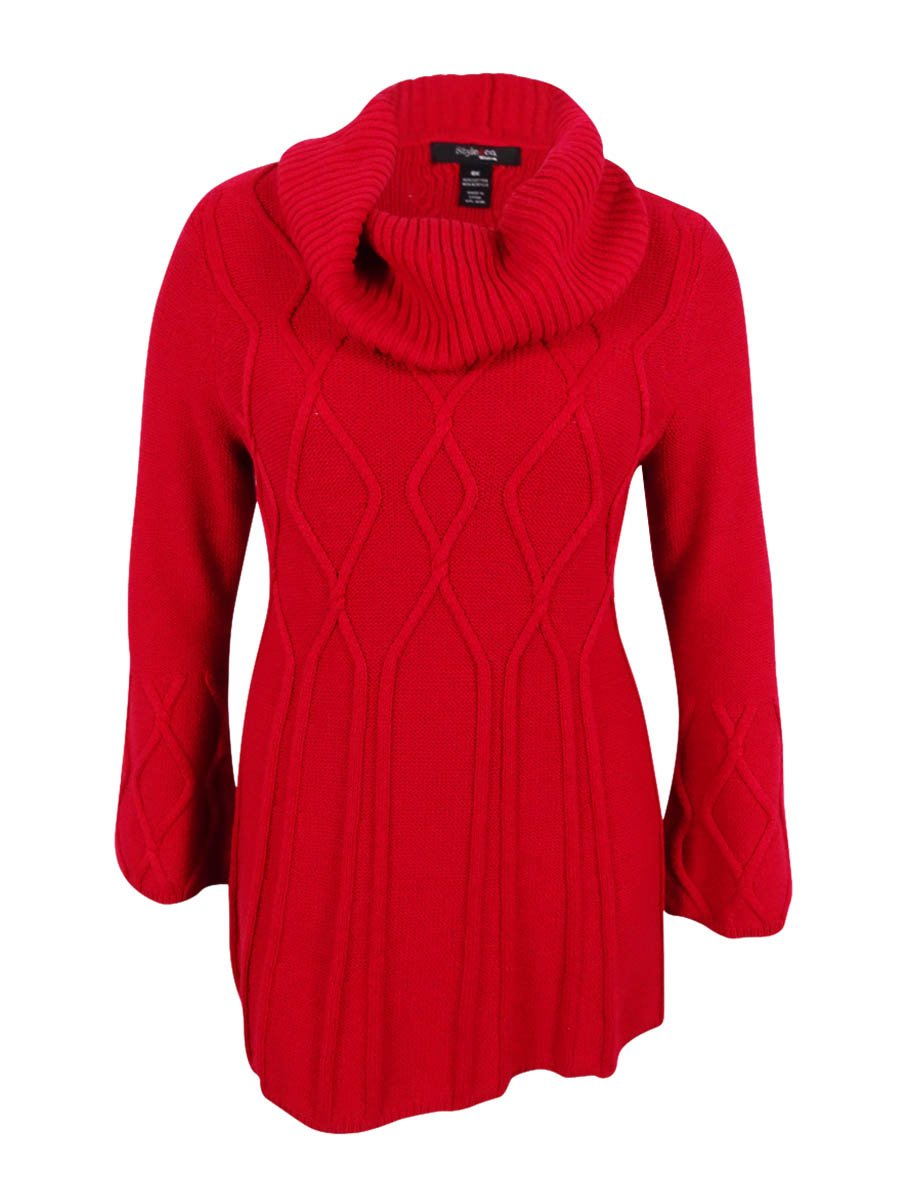 Style & Co. Womens Plus Cowl-Neck Ribbed Trim Pullover Sweater Red 3X