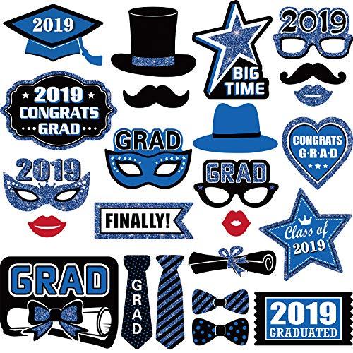 24 Pieces Graduation Party Photo Booth Props Kit, 2019 Graduation Party Decorations for Grad Party Favors Supplies (Blue)