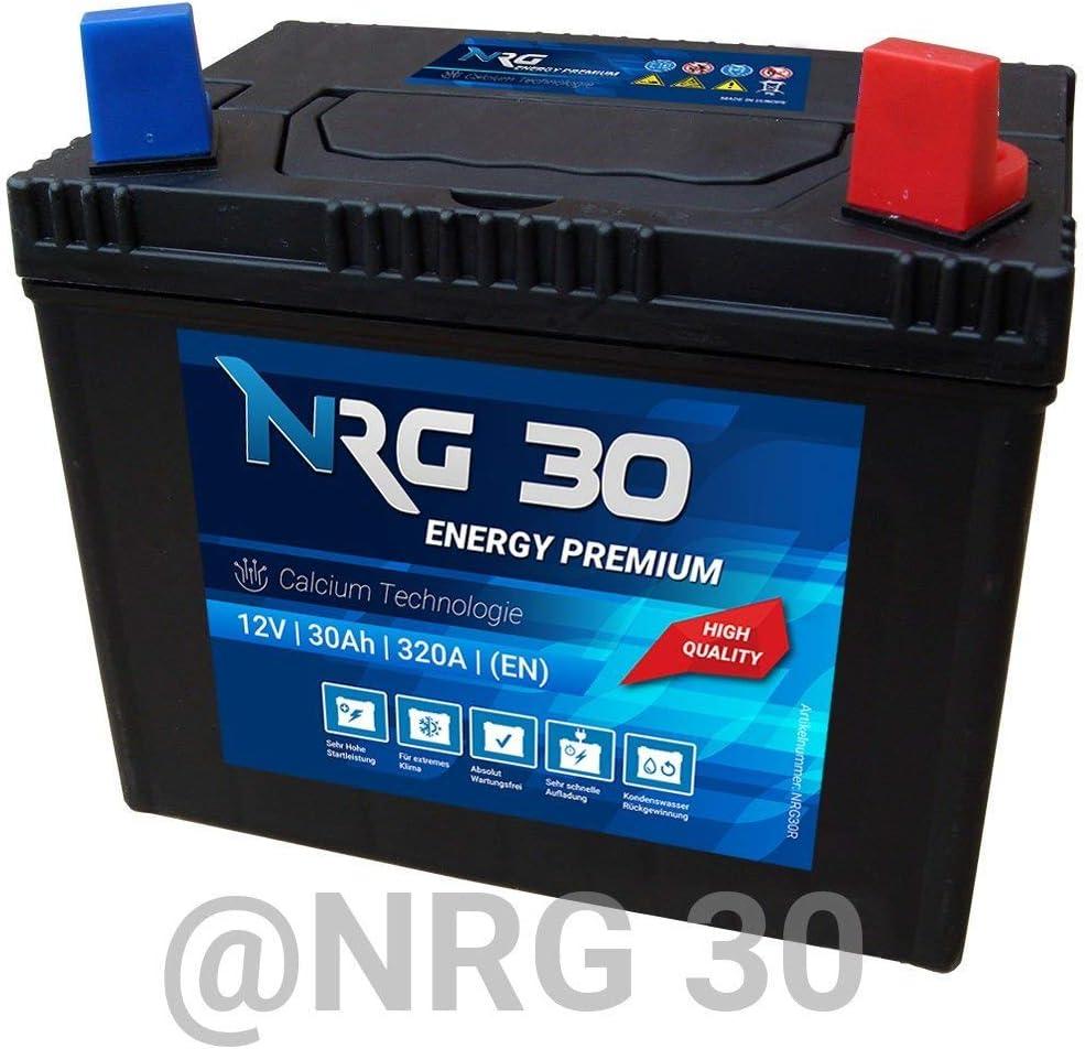Nrg Starterbatterie 30ah Rasentraktor Aufsitzmäher Rasenmäher Batterie Plus Pol Rechts Auto