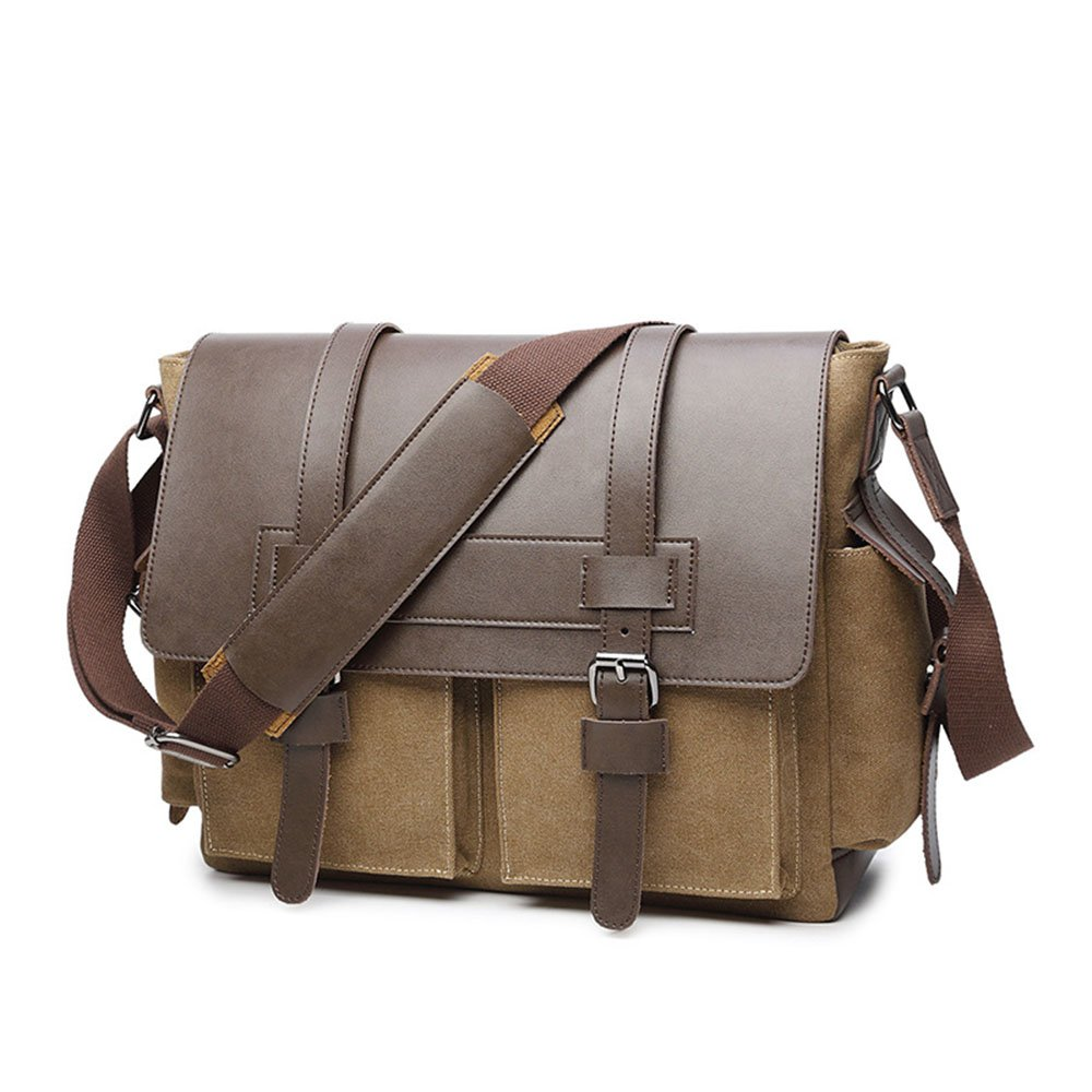 Unisex Canvas with Leather Shoulder Bags Solid Color Men Briefcase Laptop Bag File Package Carry Bag Vacation Color : Khaki