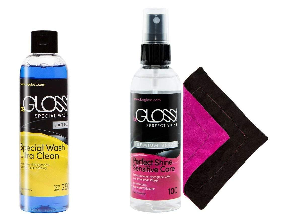 beGloss Perfect Shine Premium Spray 100 - Special Wash 250 - Perfect Shine Polish Wipe - Small Combo - for Latex Clothing